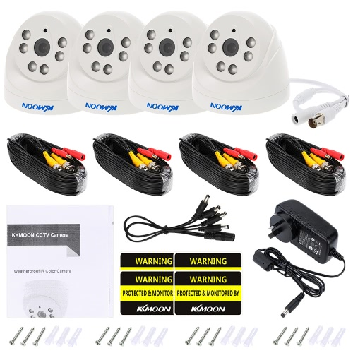 KKmoon   4*720P 1500TVL AHD Indoor Doom CCTV Camera + 4*60ft Surveillance Cable Support IR-CUT Night View 6pcs Array Infrared Lamps 1/4'' CMOS For Home Security PAL System