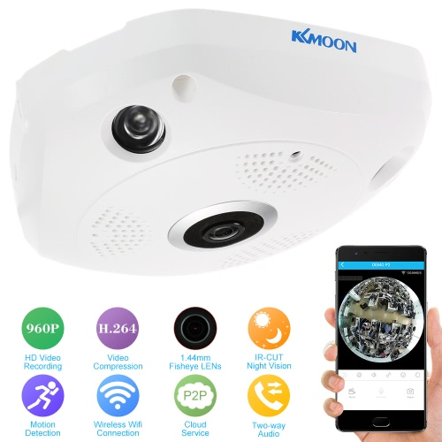 KKmoon    960P HD 360 Degree Wireless Wifi VR IP Camera Full View 1.44MM Lens Fish Eye Panoramic Indoor Security CCTV Camera Support Phone APP Remote Control