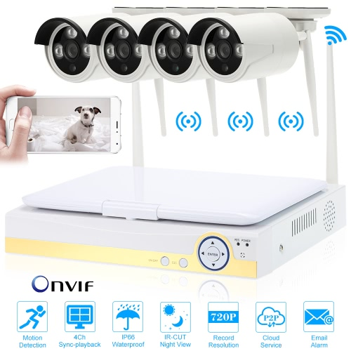 OWSOO 10.1″ 4CH 720P HD WiFi NVR Kit with 4pcs 1.0MP  IP Camera