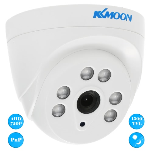 KKmoon  720P 1500TVL Dome AHD Surveillance Camera 1.0MP 3.6mm 1/4'' CMOS 6 Array IR Lamps Night Vision IR-CUT Indoor CCTV Security NTSC System