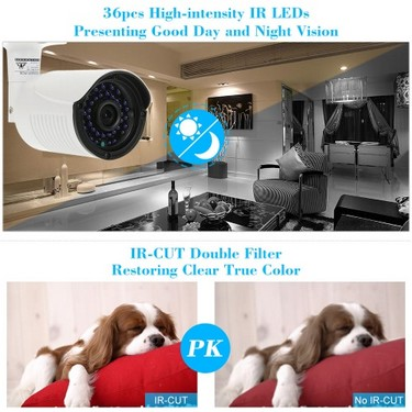 COTIER  1080P HD POE IP Camera 2.0MP 3.6mm 1/2.8'' CMOS H.264 P2P Onvif 36 IR LEDS Night View IR-CUT Motion Detection Email Alert Phone APP Control Home Security