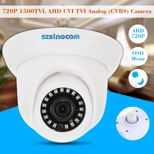 szsinocam  1500TVL 720P AHD CVI TVI Analog (CVBS) Dome Camera OSD Menu 1.0MP 1/4'' CMOS 3.6mm 18 IR LEDs IR-CUT Night Vision CCTV Security NTSC System