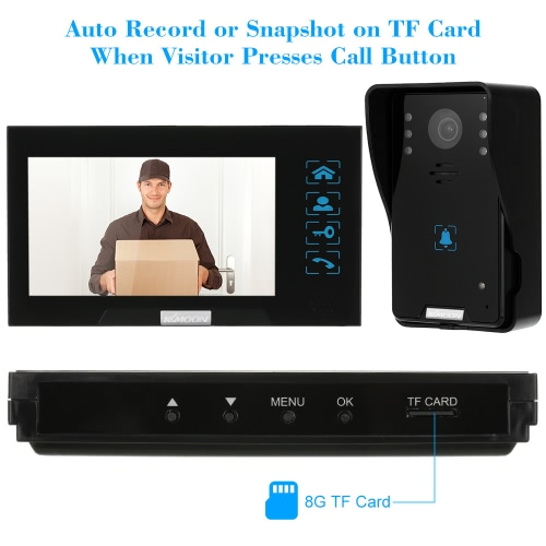 """KKmoon® 7"""" Wired Video Door Phone System Record/Snapshot Visual Intercom Doorbell with 2*800×480 Indoor Monitor + 1*1000TVL HD Outdoor Camera + 2*8G TF Card support Touch Button Unlock Infrared Night View Rainproof Lock Time Delay Adjustable Angles for Door Entry Access Control System"""