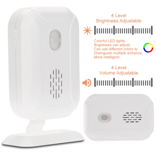Wireless Split Welcome Guest Doorbell Motion Detection PIR Sensor Alarm System with Receiver and Transmitter for Home Office Security Protection