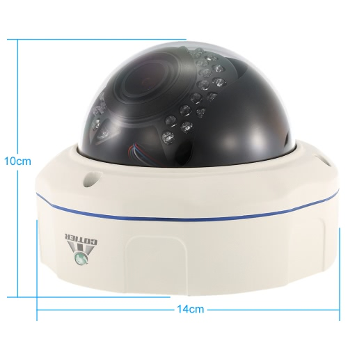 "COTIER  1080P HD Dome POE IP Camera 2.8~12mm Auto-Focus Manual Varifocal Zoom Lens 2.0MP 1/2.8"" for Sony CMOS IR-CUT 30pcs IR Lamps Support Phone APP Control Motion Detection Night Vision for CCTV Home Security"