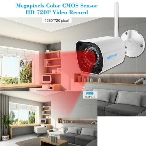 szsinocam  720P HD Wireless WIFI Bullet IP Camera 1.0MP 1/4'' CMOS 4mm Lens 36pcs IR LEDS Support Night Vision Motion Detection Phone APP Control Built-in 8G TF Card