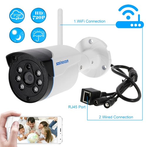 szsinocam  720P HD Wireless WIFI Bullet Waterproof IP Camera 1.0MP 1/4'' CMOS 4mm Lens 6pcs Array IR LEDS H.264 P2P Built-in 8G TF Card Support Motion Detection Phone APP Control Night Vision for Indoor Outdoor Security