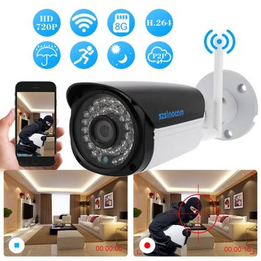 szsinocam  720P Wireless WIFI HD Bullet IP Camera 1.0MP 36 IR LEDS 1/4'' CMOS H.264 P2P Waterproof Built-in 8G TF Card Support Motion Detection Phone APP Control Night Vision