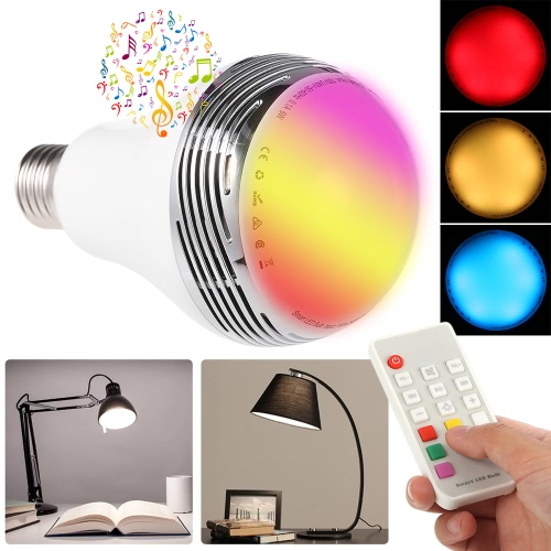 Smart LED E27 Light Color Bulb Intelligent BT Music Audio Speaker Lamp with Remote Control