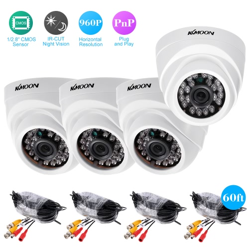 KKmoon  4*960P AHD Dome IR CCTV Camera + 4*60ft Surveillance Cable