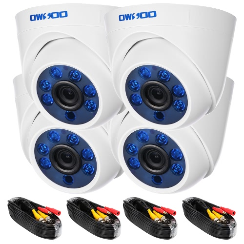 OWSOO 4*720P 1500TVL AHD Indoor Dome CCTV Camera + 4*60ft Surveillance Cable Support IR-CUT Night View 6pcs Array Infrared Lamps 1/4'' CMOS For Home Security PAL System