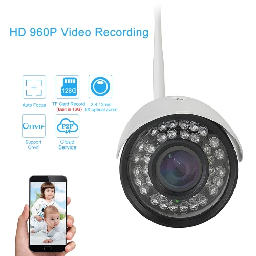 EasyN Auto-focus 2.8-12mm Lens HD 960P 1.3 Megapixels Wireless Wifi IP Camera CCTV Surveillance Security Network Outdoor Indoor Bullet Camera Support P2P for Android/iOS APP Browser View Onvif Weatherproof IR-CUT Filter Infrared Night View Motion Detection 36pcs Infrared LED Lights