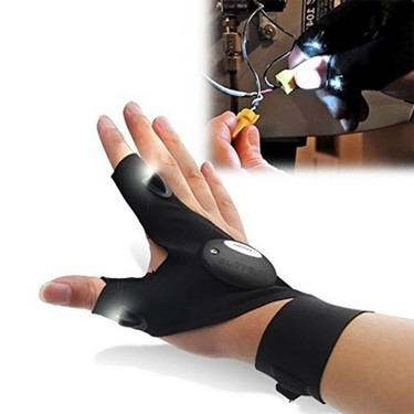 Multifunction Outdoor Sports Wear Gloves Two Fingers with LED Light Night Fishing Right Hand