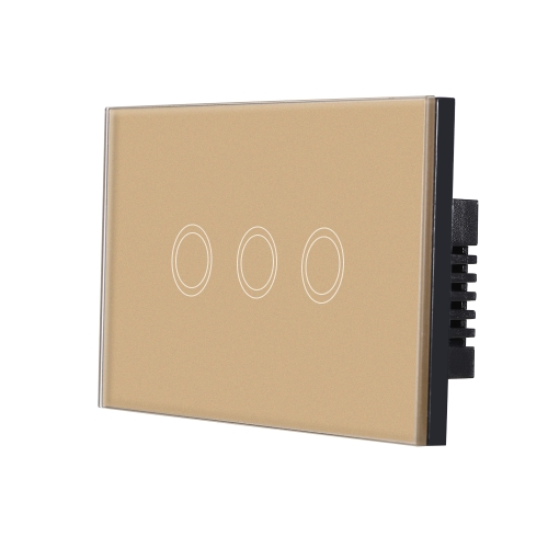 US/AU Standard Wall Touch Switch Waterproof Fire Retardant High Sensitive Luxury Crystal Glass Switch Panel Touch Screen Single Fire Wire 2 Gang Champagne Gold Panel Home Automation