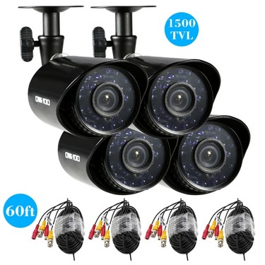 OWSOO 4*1500TVL Outdoor/Indoor Bullet Security CCTV Camera + 4*60ft Surveillance Cable support Weatherproof IR-CUT Night View Plug and Play 3.6mm 24 Infrared LEDs