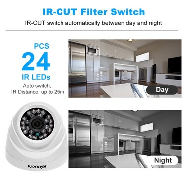 KKmoon 4CH Channel Full 1080N AHD DVR HVR NVR + 4*1800TVL AHD Dome IR CCTV Camera + 4*60ft Surveillance Cable + 1TB Hard Drive Support for Android/iOS APP Control Motion Detection Night Vision for CCTV Security System NTSC System