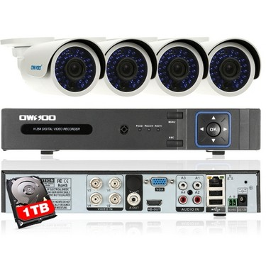 OWSOO 4CH Channel Full AHD 1080N CCTV Surveillance DVR Security System P2P Cloud Onvif Network Digital Video Recorder + 1TB Hard Disk + 4*720P Outdoor/Indoor Infrared Bullet Camera + 4*60ft Cable support IR-CUT Night Vision Weatherproof Plug and Play Android/iOS APP PC CMS Browser View Motion Detection for CCTV Security System NTSC System