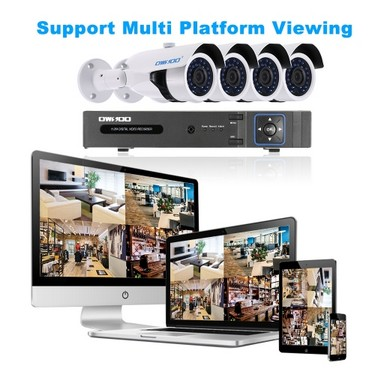 OWSOO 4CH H.264 Full 1080N DVR +4*1800TVL AHD IR CCTV Camera + 4*60ft Surveillance Cable Support Phone APP Control Motion Detection Night Vision for CCTV Security System NTSC System