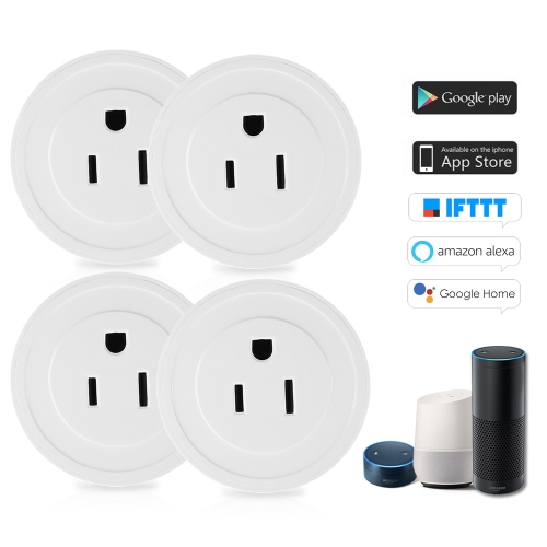 4 Pack Wi-Fi Wireless Mini Smart US Plug Compatible with Amazon Alexa & for Google Home/Nest IFTTT For TP-Link