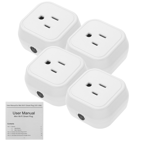 Mini Wifi Smart US Plug Voice Control for Amazon Alexa for Google Home/Nest IFTTT For TP-Link (4 Pack)