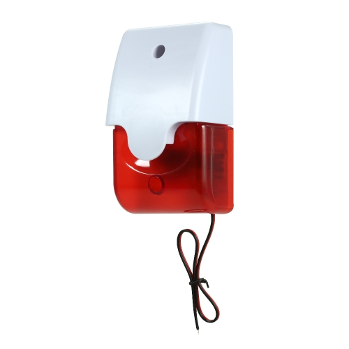 Wired Strobe Siren Sound Alarm Strobe Flashing Red Light 105dB for Home Security Protect Alarm System