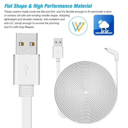 Weatherproof Indoor/Outdoor Flat Cable Aluminium Alloy Micro USB Cable Charging/Power Cord with Plug
