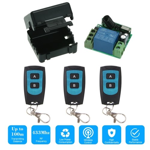 Wireless Remote Switch Relay Receiver and 3PCS RF Transmitter Remote Controls