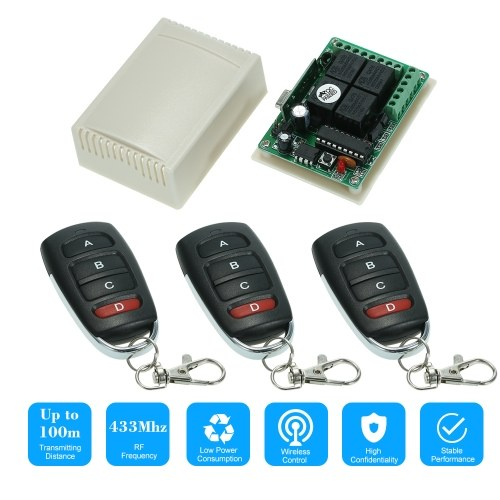 Wireless Remote Control Switch Receiver Module and 3PCS 4 Key RF 433 Mhz Transmitter Remote Controls