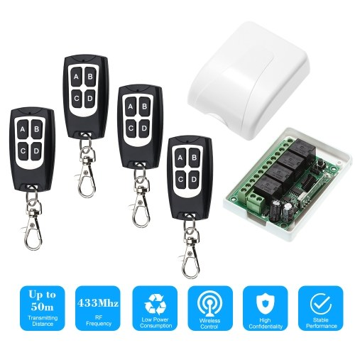 Wireless Remote Control Switch Receiver Module and 4PCS 4 Key RF 433 Mhz Transmitter Remote Controls