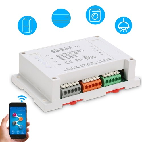SONOFF 4 Channels Din Rail Mounting WiFI Switch Universal Wireless Smart Switch