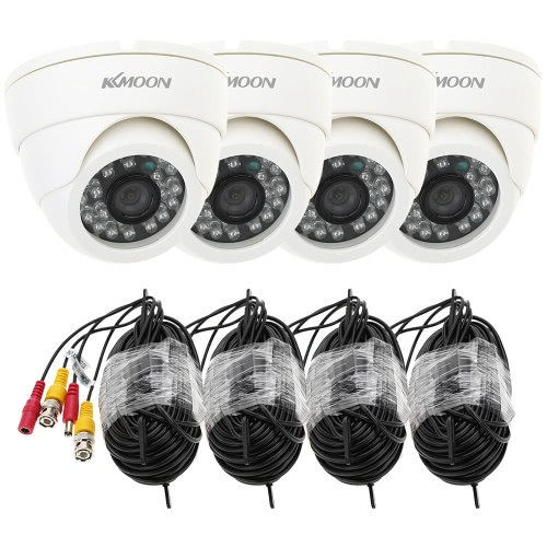 KKmoon 800TVL Security Kit with 4pcs CCTV Camera + 4pcs 60ft Video Cable IR-CUT Home Surveillance PAL System (Power Plug: 1=EU / 2=US / 3=UK / 4=AU)
