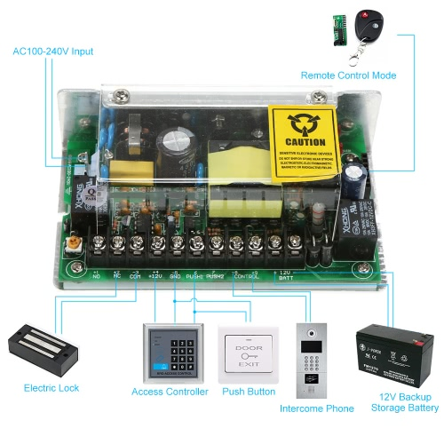 AC100-240V to 12V/5A Power Supply for Door Entry Access Control System Support Backup Battery and Remote Controller