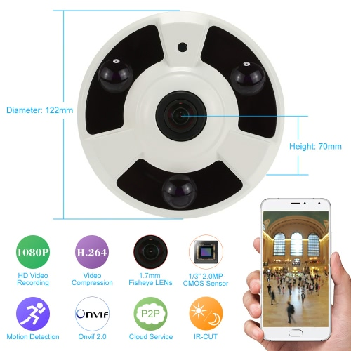 KKmoon H.264 HD 1080P 1.7mm Fisheye 360°Panoramic IP Camera CCTV Security Home Surveillance