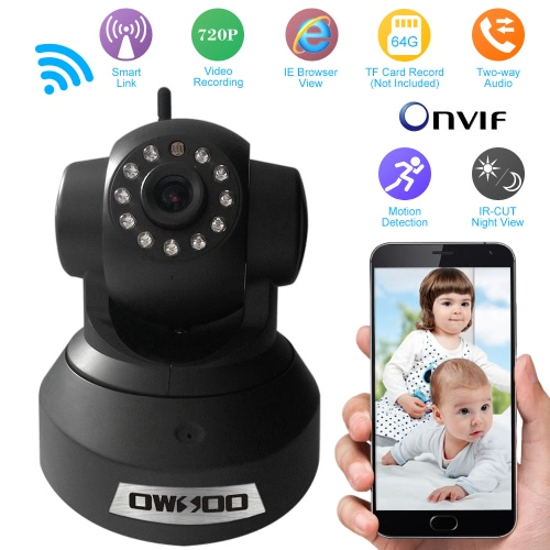 OWSOO  720P Surveillance IP Camera Wireless Wifi CCTV Security Pan Tilt 2-way Audio with Phone Control Night View Support TF Card Onvif Motion Detection Email Alarm