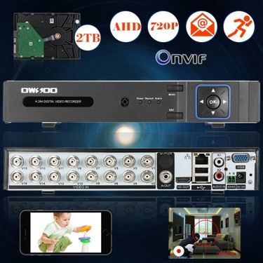 OWSOO 16CH Channel Full 720P AHD DVR HVR NVR H.264 HD P2P Cloud Network Onvif Digital Video Recorder + 2TB Hard Disk support Audio Record Phone Control Motion Detection Email Alarm PTZ for CCTV Security Camera Surveillance System