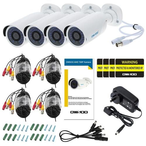 OWSOO 4pcs AHD 720P 1500TVL Security CCTV Camera + 4*60ft Surveillance Cable Outdoor Weatherproof IR-CUT Night View