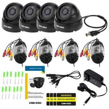 OWSOO 800TVL CCTV Security Surveillance Kit 4*Indoor Camera + 4*60ft Cable 3.6mm 24LEDs IR-CUT Night View Plug and Play (Power Plug: 1=EU / 2=US / 3=UK / 4=AU)
