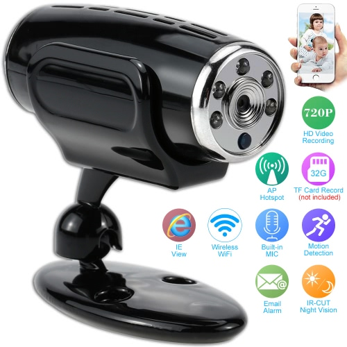Mini HD 720P Megapixel CCTV Security Surveillance Indoor Network IP Camera support P2P Wireless Wifi AP Hotspot Connection Phone Control IR Night View TF Card Audio Record Motion Detection Email Alarm IE Browser View and Backup Battery