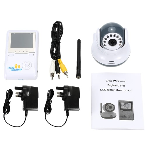 2.4inch 2.4GHz Wireless Baby Monitor + Camera support Auto Pair Plug and Play 2-way Talk IR Night View VOX Rechargeable Battery Digital Zoom AV Output for Home Surveillance CCTV Security