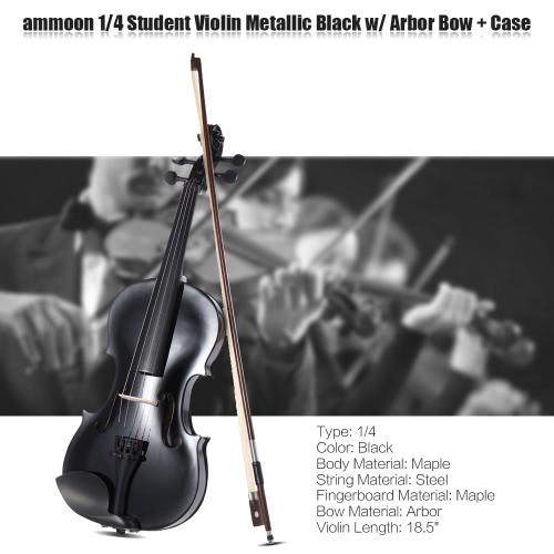 ammooon 1/4 Student Violin Metallic Black Equipped with Steel String w/ Arbor Bow for Beginners Music Lovers + ammoon AMT-01GB Multifunctional 3in1 Digital Tuner + Metronome + Tone Generator Universal Portable for Chromatic Guitar Bass Violin + 4pcs A Set of Violin Strings + Violin Shoulder Rest