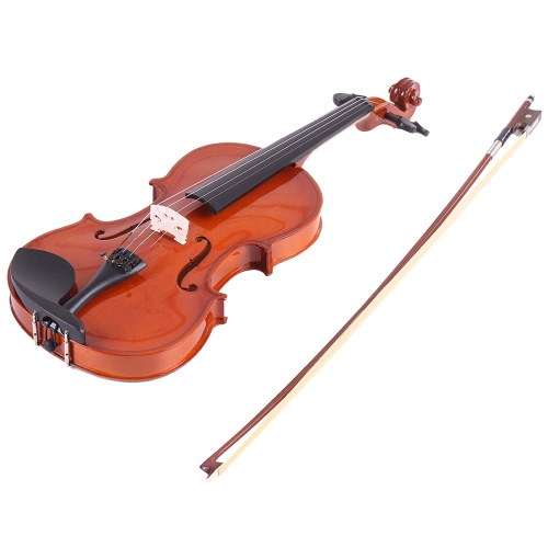 ammoon 1/2 Natural Acoustic Violin Fiddle Spruce Steel String with Case Arbor Bow for Music Lovers Beginners + ammoon AMT-01GB Multifunctional 3in1 Digital Tuner + Metronome + Tone Generator for Chromatic Guitar Bass Violin + 4pcs A Set of Violin Strings + Violin Shoulder Rest
