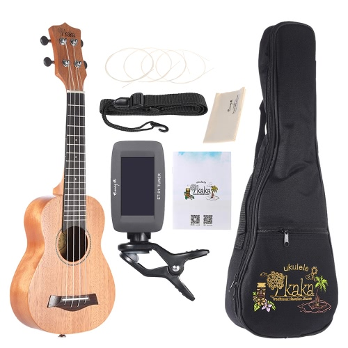 KAKA KUS-25D 21″ Solid Mahogany Top Ukulele 4 Strings Rosewood Fretboard with Gig Bag Tuner Strings Set Cleaning Cloth Neck Strap