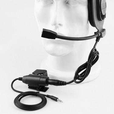 Portable Tactical Microphone Headset PTT Key Switch for Walkie Talkie CS Accessory Radio Mic Neckband Black