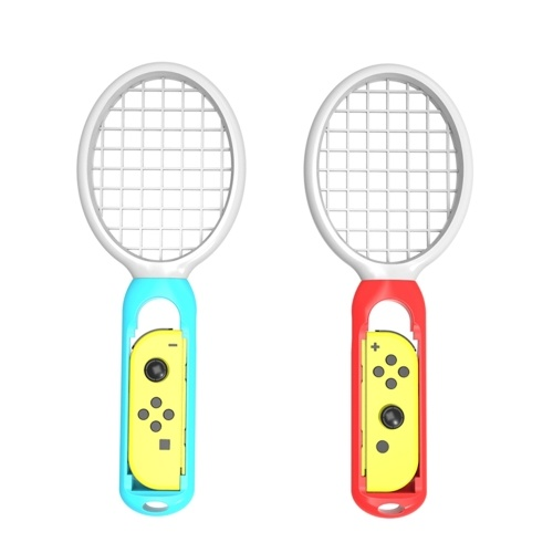 2Pcs New Twins Pack Tennis Rackets for Nintendo Switch Mario Aces Play Game Blue and Red