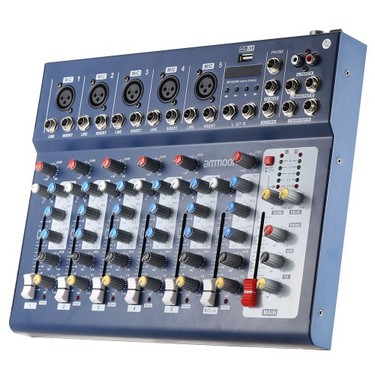 ammoon F7-USB 7-Channel Digital Mic Line Audio Sound Mixer Mixing Console  for Recording DJ Stage Karaoke Music Appreciation