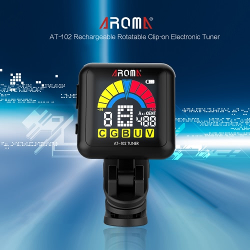 AROMA AT-102 Rechargeable Rotatable Clip-on Electronic Tuner