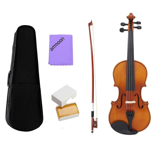 ammoon Full Size 1/4 Violin Fiddle Natural Acoustic Solid Wood Spruce Front Board Flame Maple Veneer for Beginner Student Performer with Case Rosin Cleaning Cloth
