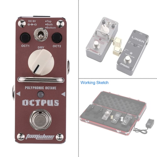 AROMA AOS-3 Octpus Polyphonic Octave Electric Guitar Effect Pedal Mini Single Effect with True Bypass