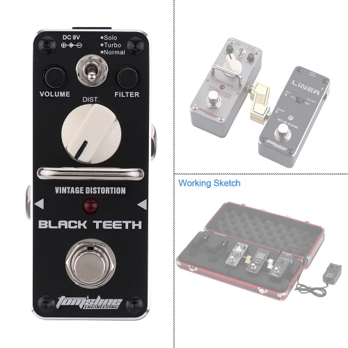 AROMA ABT-3 Black Teeth Vintage Distortion Electric Guitar Effect Pedal Mini Single Effect with True Bypass