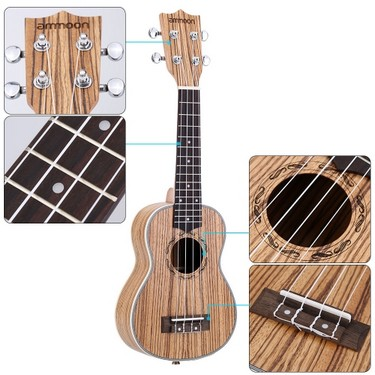ammoon Zebrawood 21″ Acoustic Ukulele 15 Fret 4 Strings Stringed Musical Instrument